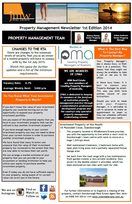 Real Property Management And Development Of : Property management newsletter st edition jmw real